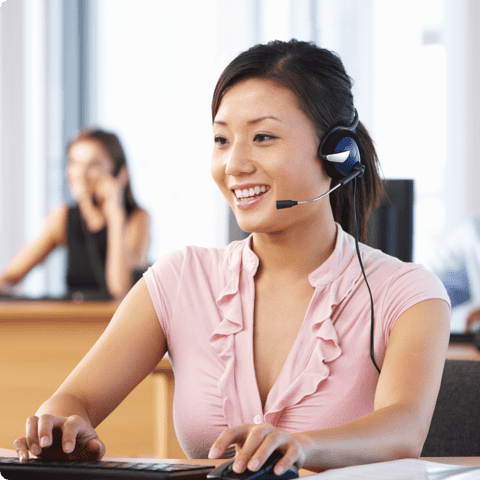 female call center agent working